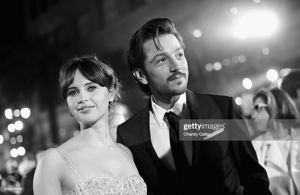 Actors Felicity Jones (L) and Diego Luna attend The World Premiere of Lucasfilm's highly anticipated, first-ever, standalone Star Wars adventure, 'Rogue One: A Star Wars Story' at the Pantages Theatre on December 10, 2016 in Hollywood, California.