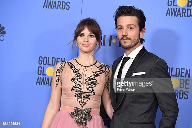 Actors Felicity Jones and Diego Luna pose in the press room during the 74th Annual Golden Globe Awards at The Beverly Hilton Hotel on January 8 2017...