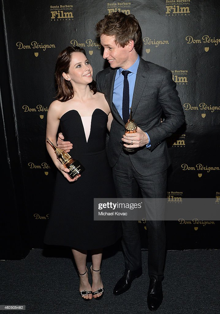 Actors Felicity Jones and Eddie Redmayne visit the Dom Perignon Lounge after receiving the Cinema Vanguard Award at The Santa Barbara International...
