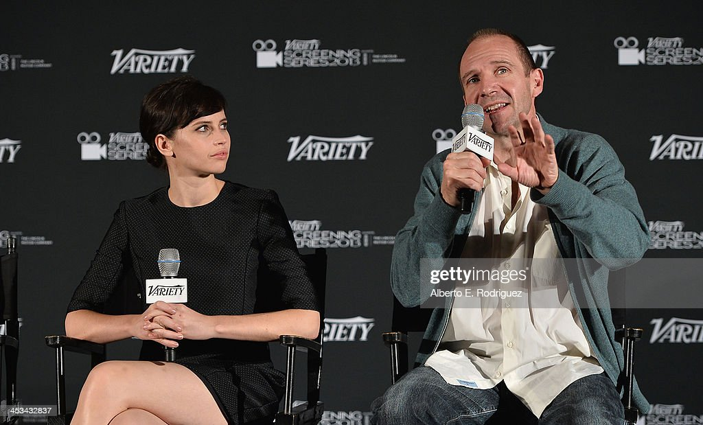 Actors Felicity Jones and Ralph Fiennes attend the 2013 Variety Screening Series of 'The Invisible Woman' at ArcLight Cinemas on December 3, 2013 in Hollywood, California.