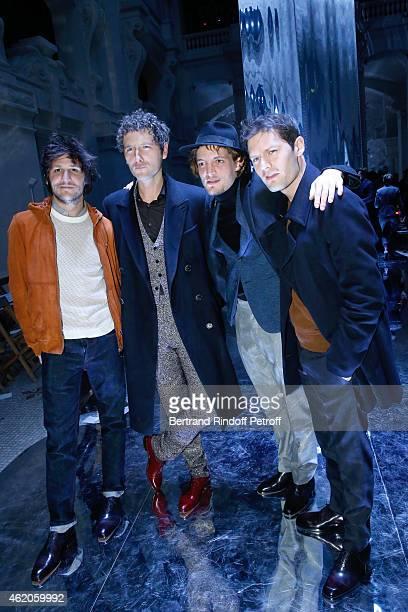 Actors Felix de Givry Simon Buret Niels Schneider and Hugo Becker attend the Berluti Menswear Fall/Winter 20152016 Show as part of Paris Fashion Week...