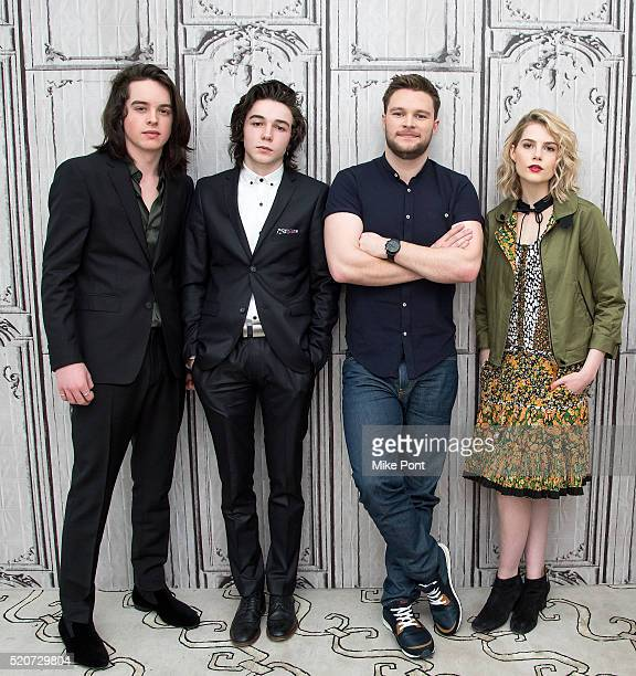 Actors Ferdia WalshPeelo Mark McKenna Jack Reynor and Lucy Boynton attend the AOL Build Speaker Series to discuss 'Sing Street' at AOL Studios In New...