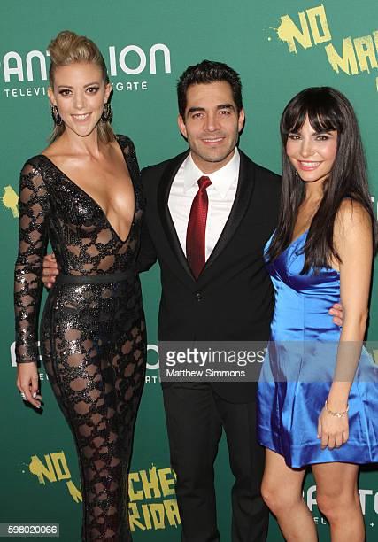 Actors Fernanda Castillo Omar Chaparro and Martha Higareda attend the premiere of Pantelion Films' 'No Manches Frida' at Regal LA Live Stadium 14 on...