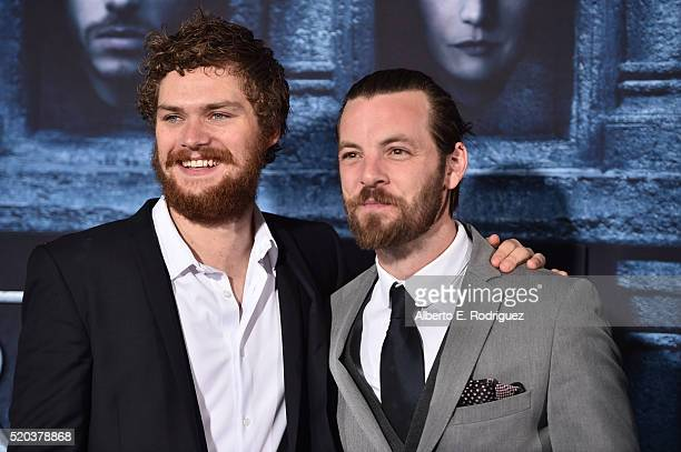 Actors Finn Jones and Gethin Anthony attend the premiere of HBO's 'Game Of Thrones' Season 6 at TCL Chinese Theatre on April 10 2016 in Hollywood...