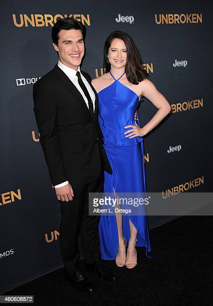 Actors Finn Wittrock and Sarah Roberts arrives for the Premiere Of Universal Studios' 'Unbroken' held at The Dolby Theatre on December 15 2014 in...