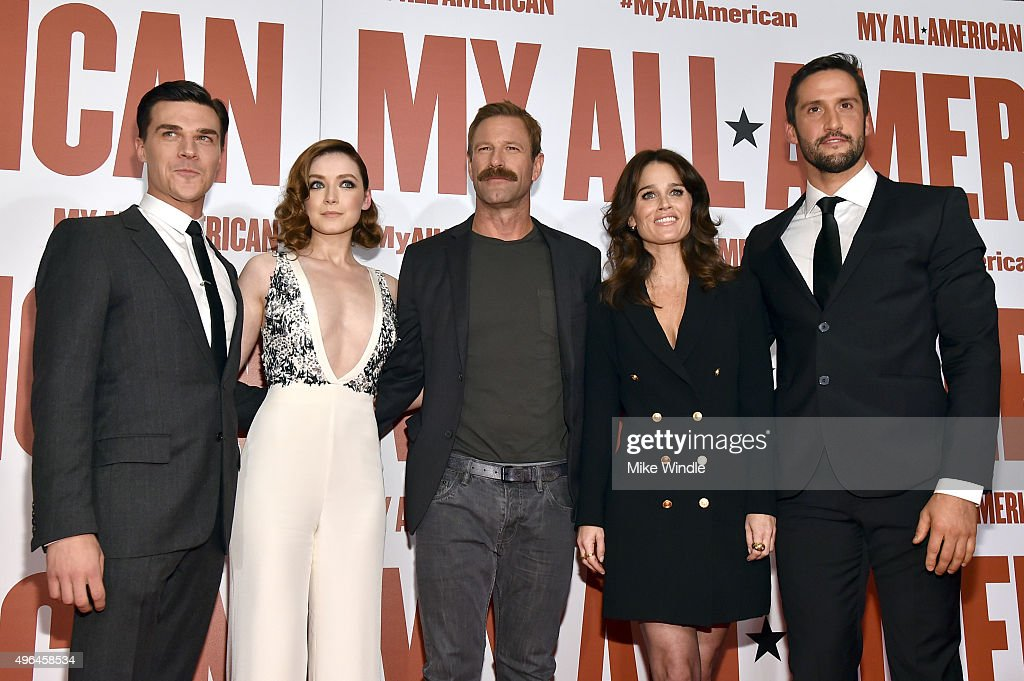 Actors Finn Wittrock, Sarah Bolger, Aaron Eckhart, Robin Tunney, and Juston Street attend the premiere of Clarius Entertainment's 'My All American' at The Grove on November 9, 2015 in Los Angeles, California.