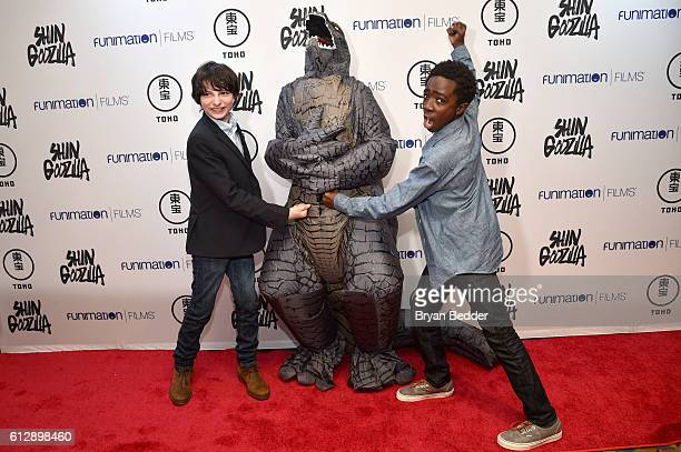 Actors Finn Wolfhard and Caleb McLaughlin attend the 'Shin Godzilla' premiere presented by Funimation Films at AMC Empire 25n2016 New York Comic Con...