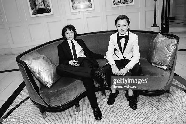 Actors Finn Wolfhard and Noah Schnapp attend 'Finn Wolfhard Caleb McLaughlin and Noah Schnapp prepare for the 74th annual Golden Globes Awards' on...
