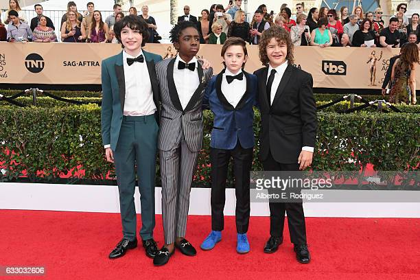 Actors Finn Wolfhard Caleb McLaughlin Noah Schnapp and Gaten Matarazzo attend the 23rd Annual Screen Actors Guild Awards at The Shrine Expo Hall on...