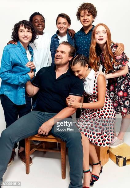 Actors Finn Wolfhard Caleb McLaughlin Noah Schnapp Gaten Matarazzo Sadie Sink David Harbour and Millie Bobby Brown from Netflix's 'Stranger Things'...