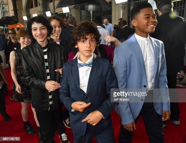 Actors Finn Wolfhard Jack Dylan Grazer and Chosen Jacobs attend the 2017 MTV Movie And TV Awards at The Shrine Auditorium on May 7 2017 in Los...