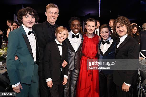 Actors Finn Wolfhard Nicholas Hamilton Charlie Shotwell Caleb McLaughlin Millie Bobby Brown Noah Schnapp and Gaten Matarazzo attend the 23rd Annual...