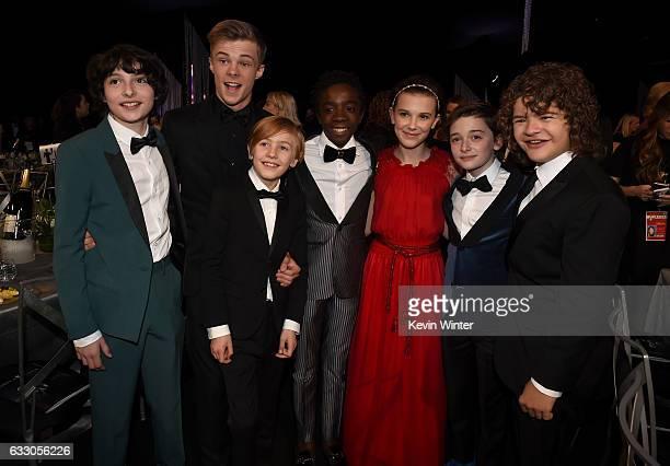 Actors Finn Wolfhard Nicholas Hamilton Charlie Shotwell Caleb McLaughlin Millie Bobby Brown Noah Schnapp and Gaten Matarazzo attend The 23rd Annual...