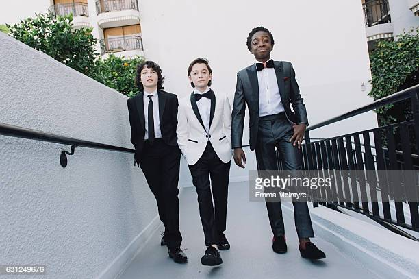 Actors Finn Wolfhard Noah Schnapp and Caleb McLaughlin attend 'Finn Wolfhard Caleb McLaughlin and Noah Schnapp prepare for the 74th annual Golden...