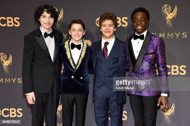 Actors Finn Wolfhard Noah Schnapp Gaten Matarazzo and Caleb McLaughlin attend the 69th Annual Primetime Emmy Awards at Microsoft Theater on September...