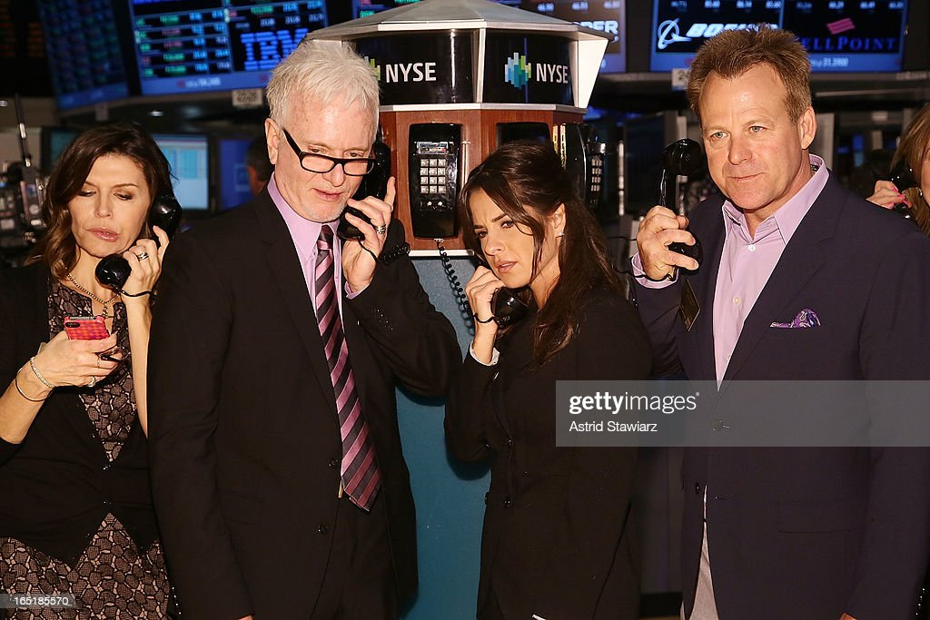 Actors Finola Hughes, Tony Geary, Kelly Monaco and Kin Shriner of ABC's soap opera General Hospital ring the opening bell at the New York Stock Exchange on April 1, 2013 in New York City.