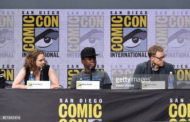 Actors Fiona Dourif Mpho Koaho and Alan Tudyk at Dirk Gently's Holistic Detective Agency BBC America Official Panel during ComicCon International...