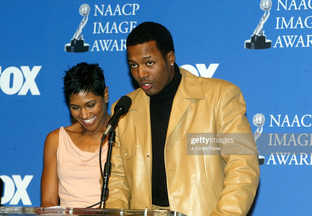 Actors Flex Alexander (R) and Terri Vaughn announce the nomination's for the 34th NAACP Image awards during a press conference on December 5, 2002 in West Hollywood, California. The 34th NAACP Image Awards will be taped at the Universal Amphitheatre March 8, 2003 and will air on March 13th.