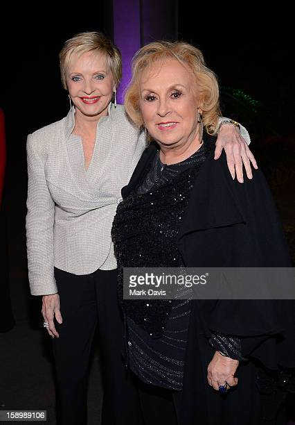Actors Florence Henderson and Doris Roberts pose at the 2013 TCA Winter Press Tour 'Hallmark Channel and Hallmark Movie Channel Gala' at The...