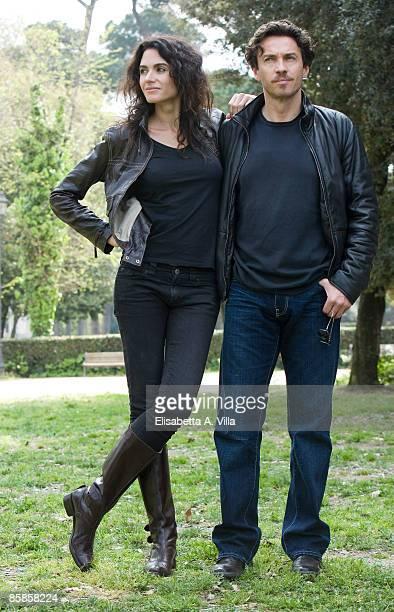 Actors Florencia Raggi and Alessio Boni attend 'Complici Del Silenzio' photocall at Villa Borghese on April 7 2009 in Rome Italy
