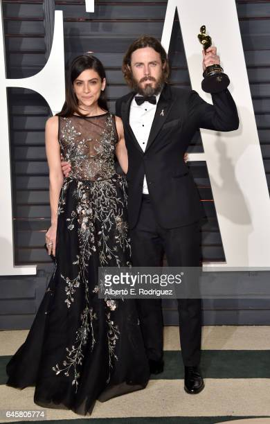 Actors Floriana Lima and Casey Affleck attends the 2017 Vanity Fair Oscar Party hosted by Graydon Carter at Wallis Annenberg Center for the...
