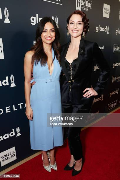 Actors Floriana Lima and Chyler Leigh attend the 28th Annual GLAAD Media Awards in LA at The Beverly Hilton Hotel on April 1 2017 in Beverly Hills...