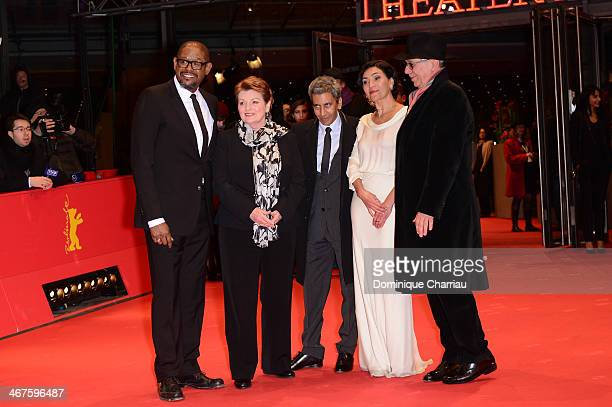 Actors Forest Whitaker actress Brenda Blethyn director Rachid Bouchareb actress Dolores Heredia and festival director Dieter Kosslick attend the 'Two...