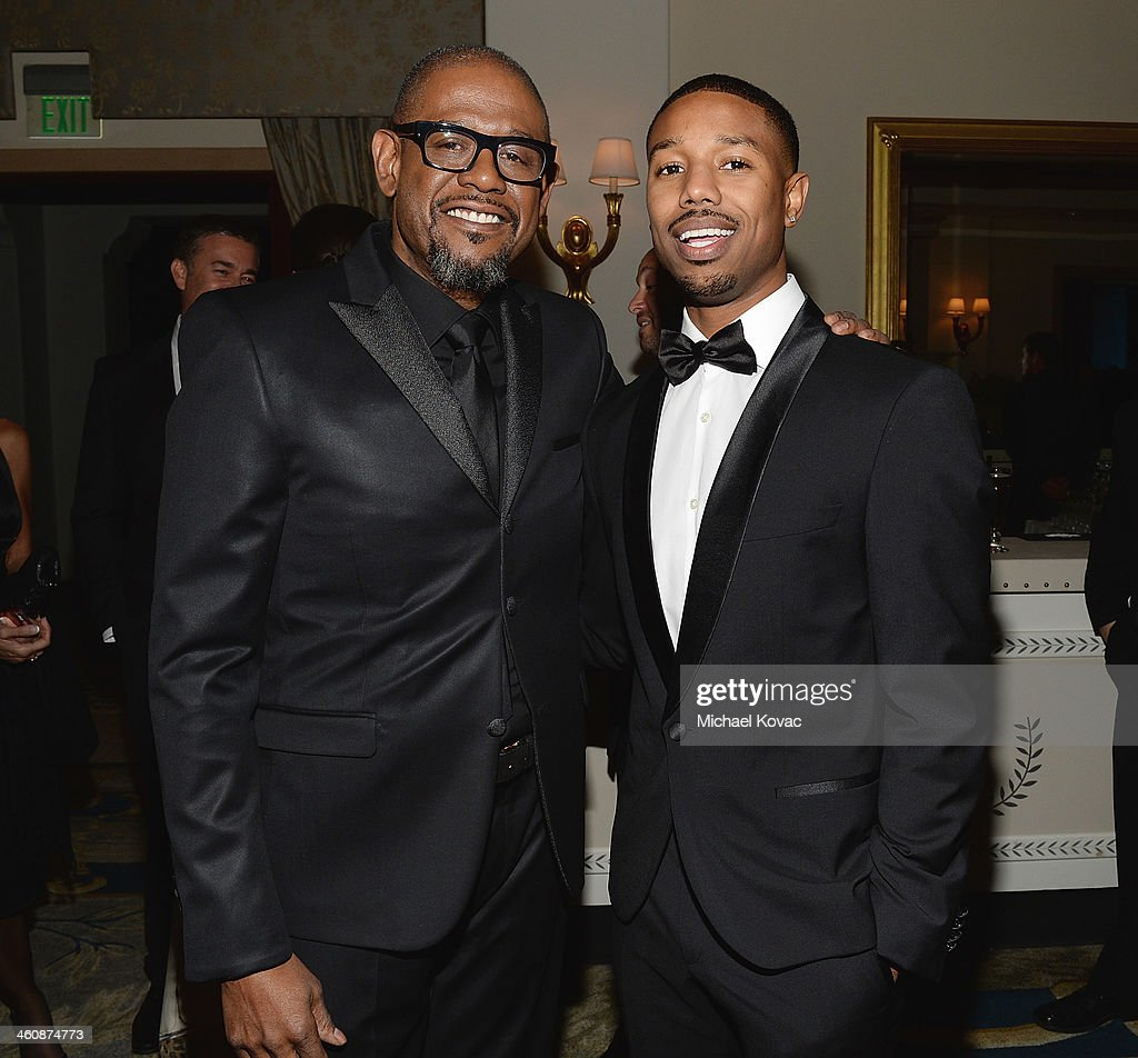 Actors Forest Whitaker and Michael B Jordan arrive at Moet Chandon Celebrates the 8th Annual SBIFF Kirk Douglas Award For Excellence In Film Honoring...