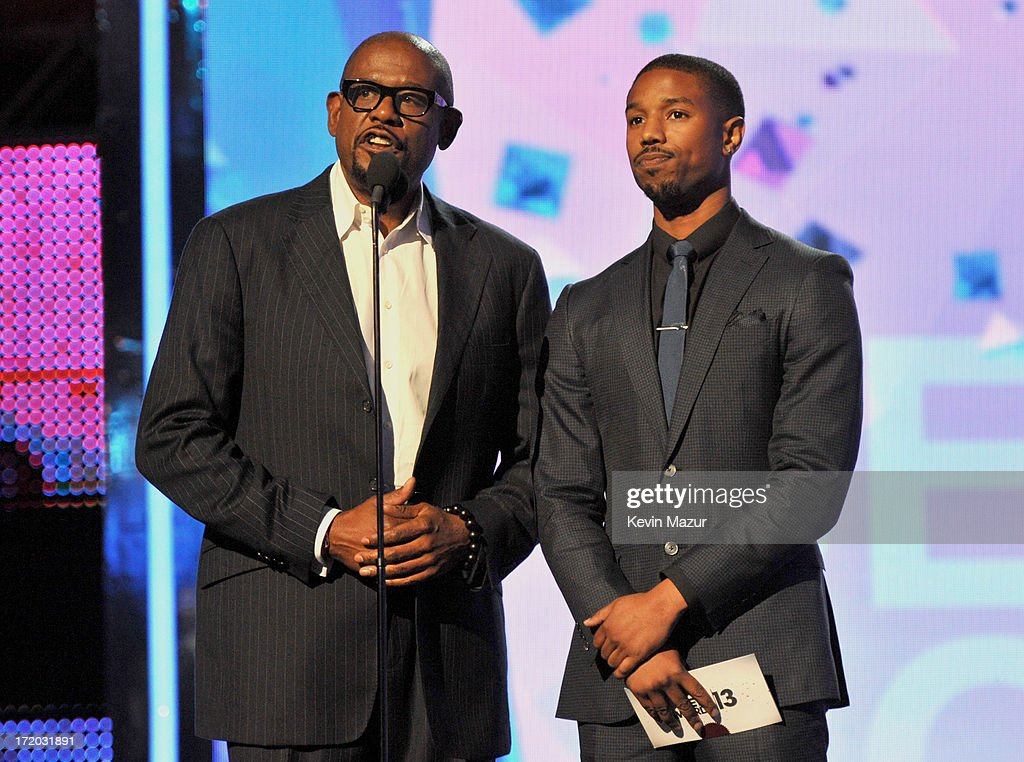 Actors <a gi-track='captionPersonalityLinkClicked' href=/galleries/search?phrase=Forest+Whitaker&family=editorial&specificpeople=226590 ng-click='$event.stopPropagation()'>Forest Whitaker</a> and Michael B. Jordan onstage during the 2013 BET Awards at Nokia Theatre L.A. Live on June 30, 2013 in Los Angeles, California.