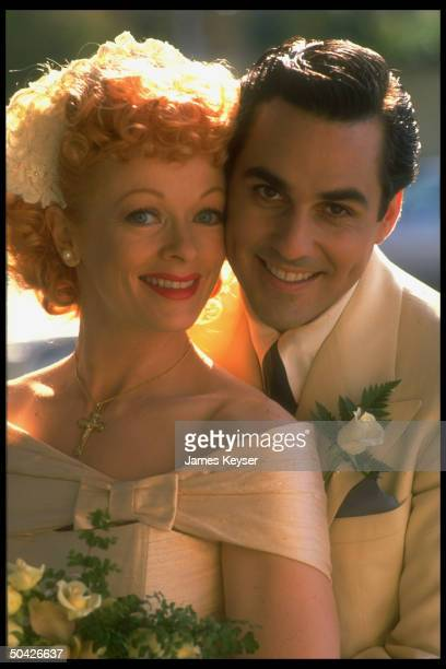 Actors Frances Fisher Maurice Bernard as Lucille Ball Desi Arnaz in pub still for CBS TV movie Lucy Desi Before the Laughter