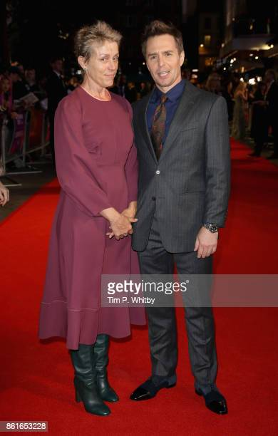 Actors Frances McDormand and Sam Rockwell attend the UK Premiere of 'Three Billboards Outside Ebbing Missouri' at the Closing Night Gala of the 61st...