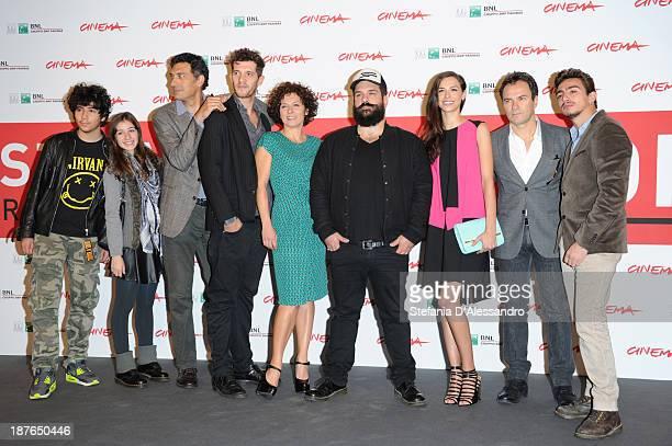 Actors Francesco Siciliano Michael Schermi actress Lidia Vitale and director Cosimo Alema with actors Marianna Di Martino Massimiliano Gallo and...