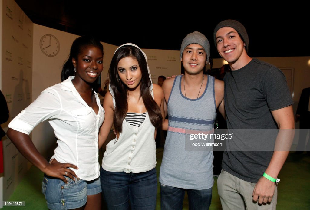 Actors Francia Raisa Allen Evangelista and actor Jared Kusnitz attend the 'HTC Status Social' Launch Event With Usher at Paramount Studios on July 19...