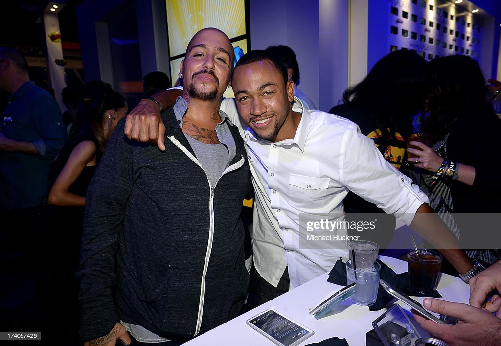 Actors Francis Capra (L) and <a gi-track='captionPersonalityLinkClicked' href=/galleries/search?phrase=Percy+Daggs+III&family=editorial&specificpeople=725957 ng-click='$event.stopPropagation()'>Percy Daggs III</a> attend the after party for Veronica Mars at The Samsung Galaxy Experience on July 19, 2013 in San Diego, California.
