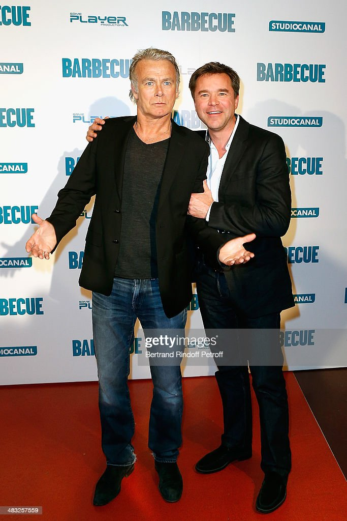 Actors <a gi-track='captionPersonalityLinkClicked' href=/galleries/search?phrase=Franck+Dubosc&family=editorial&specificpeople=609327 ng-click='$event.stopPropagation()'>Franck Dubosc</a> and Guillaume de Tonquedec attend the 'Barbecue' Premiere at Cinema Gaumont Capucine on April 7, 2014 in Paris, France.