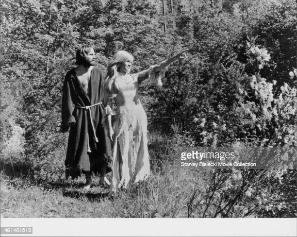 Actors Franco Nero and Nathalie Delon star in the film 'Le Moine' aka 'The Monk' based on the gothic novel by Matthew Lewis 1972
