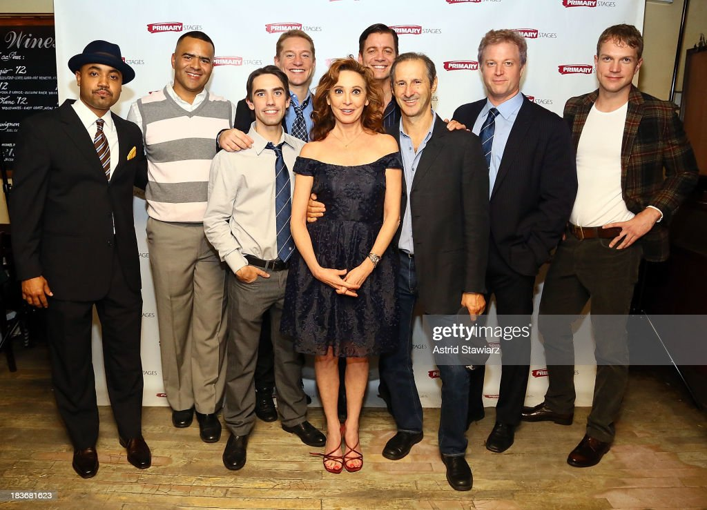 Actors Francois Battiste, Christopher Jackson, Keith Nobbs, Bill Dawes, Wendy Makkena, Chris Henry Coffey, Richard Topol, C.J. Wilson and John Wernke attend the 'Bronx Bombers' opening night after Party at West Bank Cafe on October 8, 2013 in New York City.