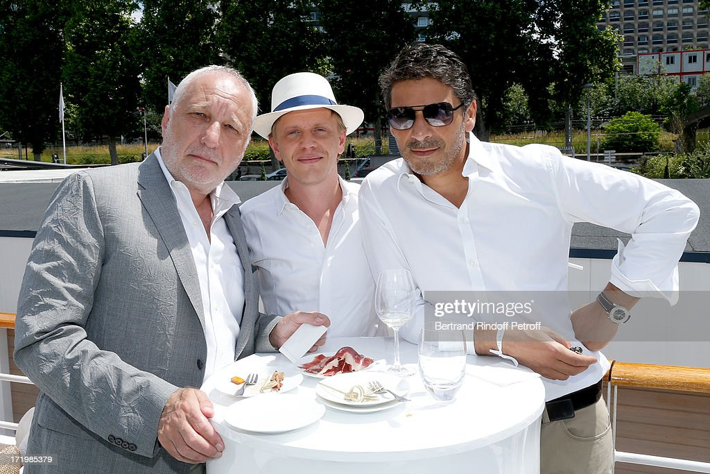 Actors <a gi-track='captionPersonalityLinkClicked' href=/galleries/search?phrase=Francois+Berleand&family=editorial&specificpeople=575825 ng-click='$event.stopPropagation()'>Francois Berleand</a>, Alex Luz and <a gi-track='captionPersonalityLinkClicked' href=/galleries/search?phrase=Pascal+Elbe&family=editorial&specificpeople=3275975 ng-click='$event.stopPropagation()'>Pascal Elbe</a> attend 'Brunch Blanc' hosted by Groupe Barriere for Sodexho with a cruise in Paris on June 30, 2013, France.