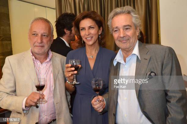 Actors Francois Berleand Corinne Touzet and Pierre Arditi attend the Chateau de La Connivence Launch Cocktail at Jaeger Lecoultre Vendome on May 30...