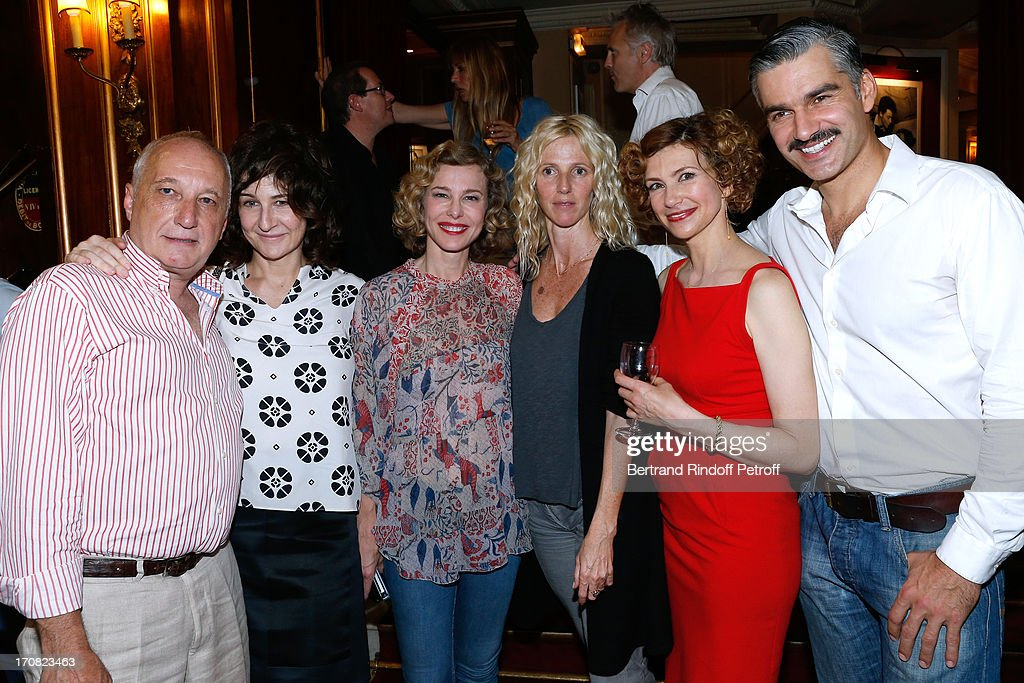 Actors Francois Berleand Valerie Lemercier Pascale Arbillot Sandrine Kiberlain Florence Pernel and Francois Vincentelli after the last performance of...