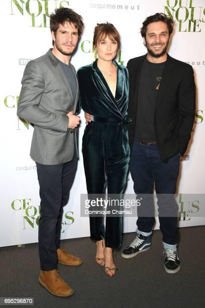 Actors Francois Civil Ana Girardot and Pio Marmai attend the 'Ce Qui Nous Lie' Paris Premiere at Cinema UGC Normandie on June 12 2017 in Paris France