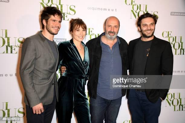 Actors Francois Civil Ana Girardot director Cedric Klapisch and Pio Marmai attend the 'Ce Qui Nous Lie' Paris Premiere at Cinema UGC Normandie on...
