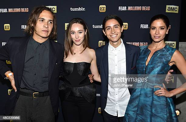 Actors Frank Dillane Alycia DebnamCarey Lorenzo James Henrie and Mercedes Mason attend AMC ET And Tumblr's 'Fear The Walking Dead' Event during...