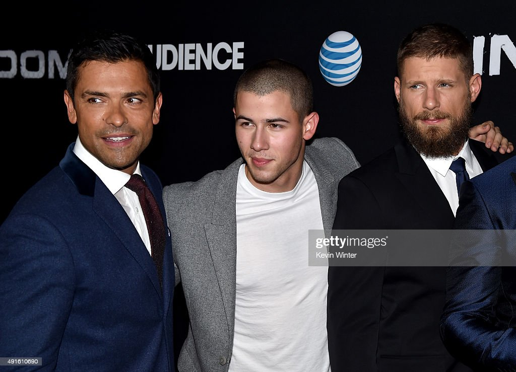 Actors Frank Grillo, Mark Consuelos, and Matt Lauria attend the premiere of DIRECTV's 'Kingdom' Season 2 at SilverScreen Theater at the Pacific Design Center on October 6, 2015 in West Hollywood, California.