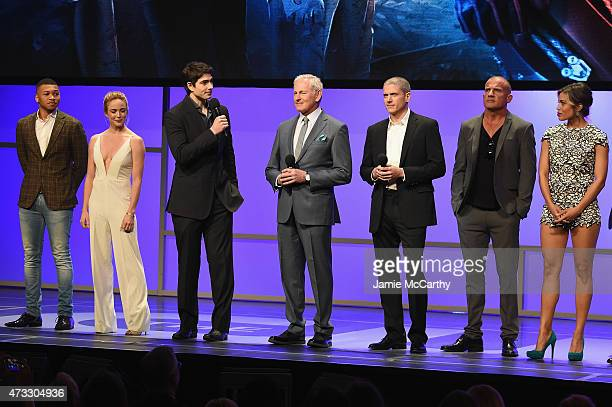 Actors Franz Drameh Caity Lotz Brandon Routh Victor Garber Wentworth Miller Dominic Purcell Ciara Renee and Arthur Darvill speak onstage at the CW...