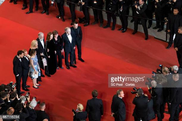 Actors Franz Rogowski Toby Jones Fantine Harduin director Michael Haneke and his wife Susi Haneke actors Isabelle Huppert JeanLouis Trintignant and...