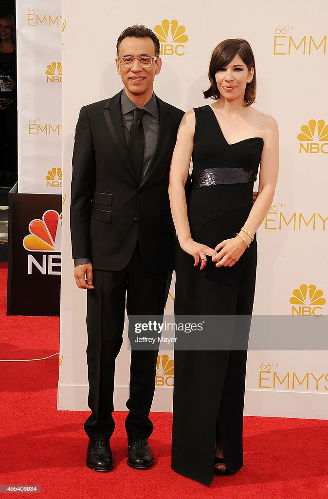 Actors Fred Armisen and Carrie Brownstein arrive at the 66th Annual Primetime Emmy Awards at Nokia Theatre LA Live on August 25 2014 in Los Angeles...