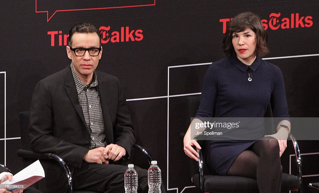 Actors <a gi-track='captionPersonalityLinkClicked' href=/galleries/search?phrase=Fred+Armisen&family=editorial&specificpeople=221426 ng-click='$event.stopPropagation()'>Fred Armisen</a> and <a gi-track='captionPersonalityLinkClicked' href=/galleries/search?phrase=Carrie+Brownstein&family=editorial&specificpeople=870017 ng-click='$event.stopPropagation()'>Carrie Brownstein</a> attend New York Times TimesTalks Presents: 'Portlandia' at TheTimesCenter on January 28, 2013 in New York City.
