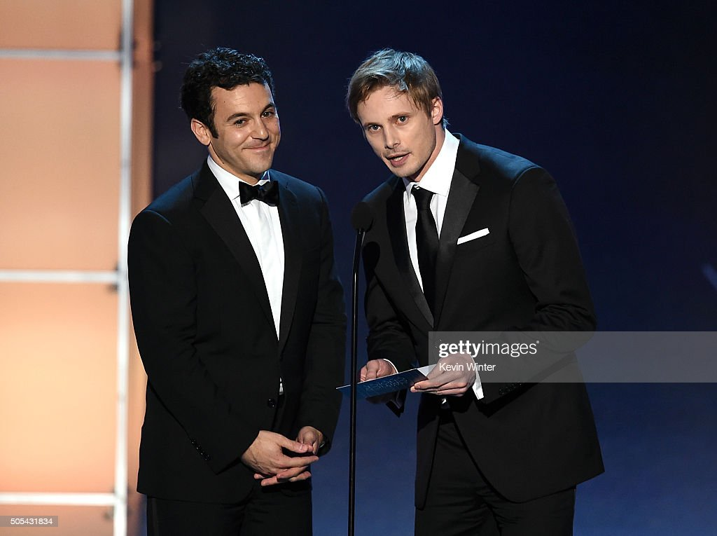 Actors Fred Savage and Bradley James speak onstage during the 21st Annual Critics' Choice Awards at Barker Hangar on January 17 2016 in Santa Monica...