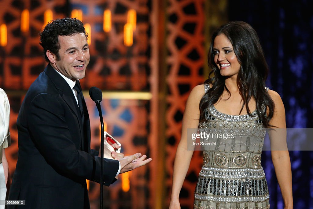 Actors Fred Savage and Danica McKellar speak onstage during the 2015 TV Land Awards at Saban Theatre on April 11 2015 in Beverly Hills California